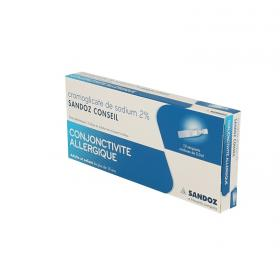 SANDOZ Cromoglicat sodium conseil 2% collyre boîte de 10 récipients unidoses de 0,30ml