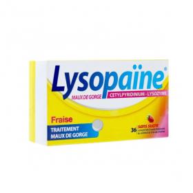 BOEHRINGER INGELHEIM Lysopaïne maux de gorge fraise sans sucre 36 comprimés à sucer