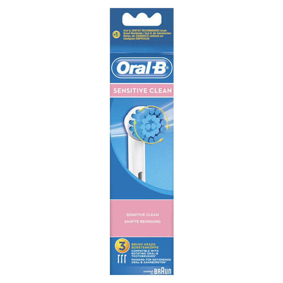 oral b sensisitive clean 3 brossettes de rechange. Black Bedroom Furniture Sets. Home Design Ideas