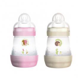 MAM Biberon 1er âge anti-colique rose et blanc 2x160ml
