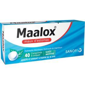 Maalox maux d'estomac menthe 40 comprimés à croquer