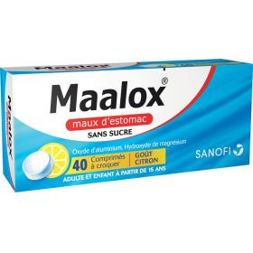 SANOFI Maalox maux d'estomac sans sucre citron 40 comprimés à croquer