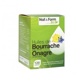 NAT & FORM Huile de bourrache onagre bio 120 capsules