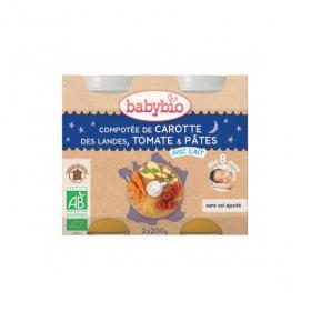 BABYBIO Petits pots compotée carotte des Landes, tomate & pâtes 2x200g