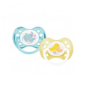 DODIE 2 sucettes anatomiques silicone animaux 0-6 mois
