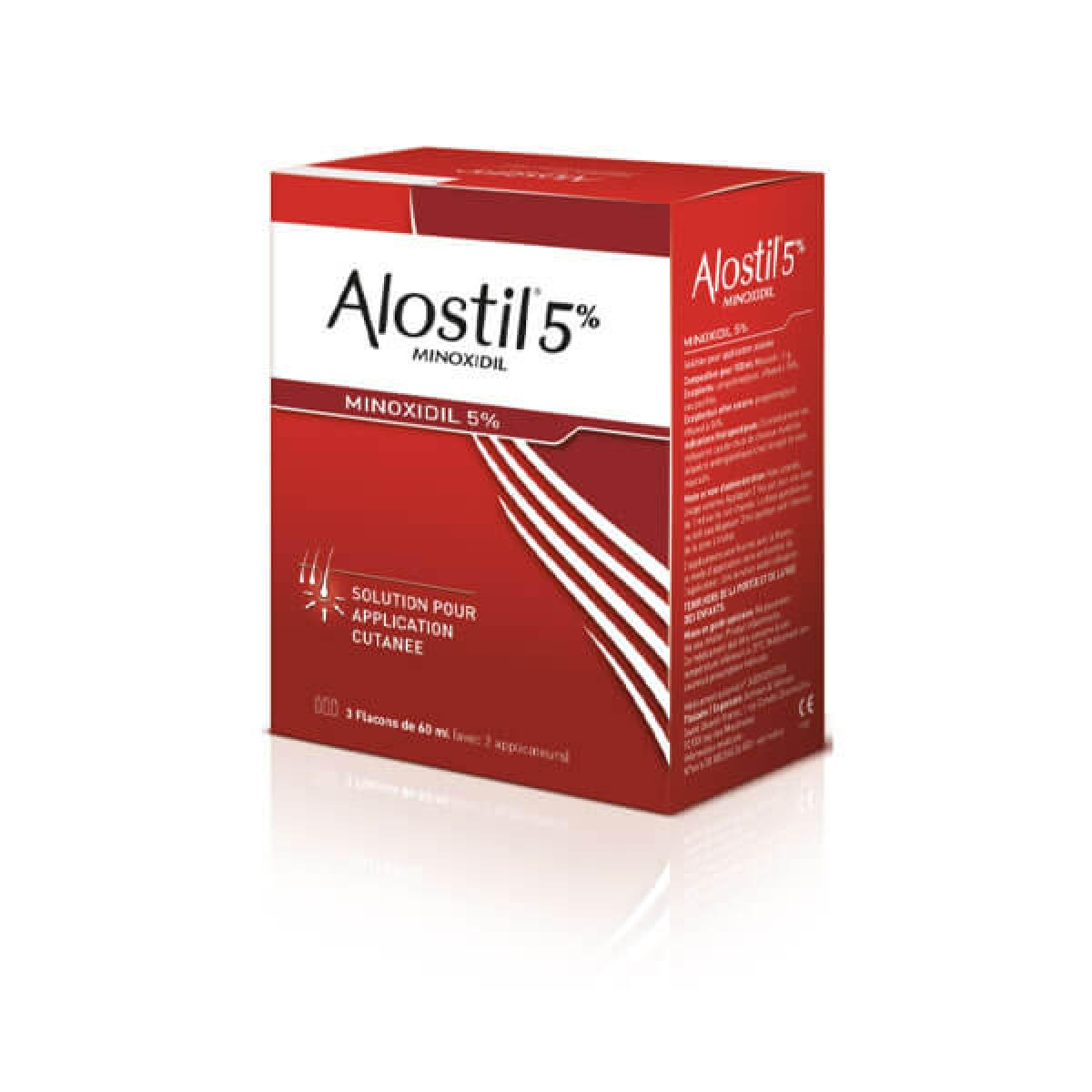 ALOSTIL Minoxidil 5% solution pour application cutanée 3x60ml - Médicaments  - Pharmarket