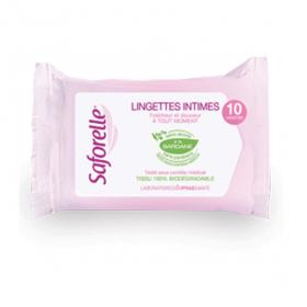 SAFORELLE Lingettes intimes ultra-douces paquet de 10 lingettes