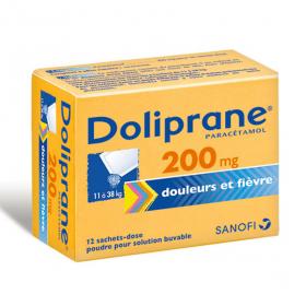 Doliprane 200mg poudre pour solution buvable 12 sachets-dose