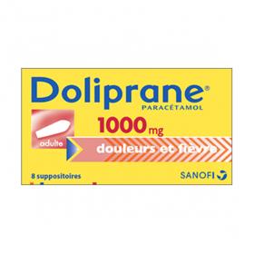 Doliprane adultes 1000mg 8 suppositoires