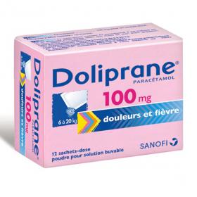 Doliprane 100mg poudre pour solution buvable 12 sachets-dose