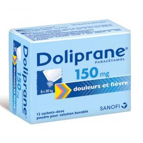 DOLIPRANE 150 mg poudre pour solution buvable 12 sachets-dose