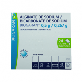 Alginate de sodium/bicarbonate de sodium 0,5g/0,267g suspension buvable en 24 sachets-doses