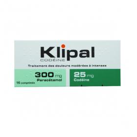 Klipal codeine 300mg/25mg 16 comprimés