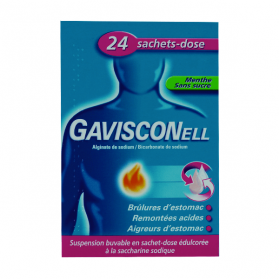 GAVISCON Gavisconell menthe sans sucre suspension buvable en 24 sachets doses de 10ml
