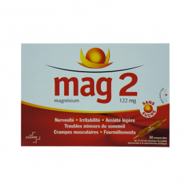 Mag 2 sans sucre 122mg/10ml solution buvable en 30 ampoules édulcorées à la saccharine sodique