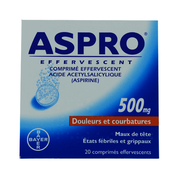 bayer aspro 500 effervescent 20 comprim s effervescents m dicaments pharmarket. Black Bedroom Furniture Sets. Home Design Ideas