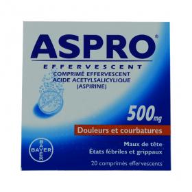 BAYER Aspro 500 effervescent 20 comprimés effervescents