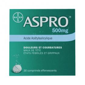 BAYER Bayer aspro 500 effervescent comprimé effervescent 36 comprimés