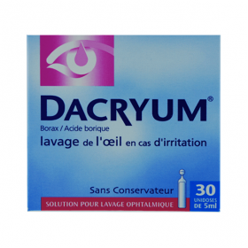 Dacryum solution pour lavage ophtalmique en 30 recipients unidoses