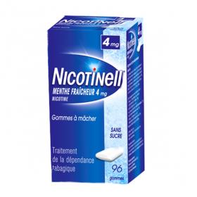 NICOTINELL Menthe fraicheur sans sucre 96 gommes à mâcher 4mg
