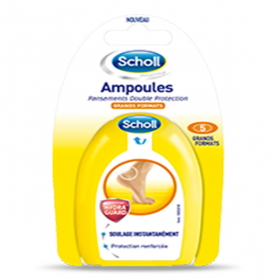 SCHOLL Ampoules pansements double protection grand format x5