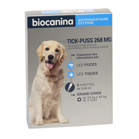BIOCANINA Tick-puss grand chien 268mg 4 pipettes
