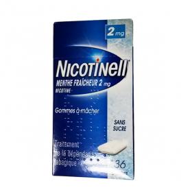 NICOTINELL Menthe fraicheur sans sucre 36 gommes à mâcher 2mg