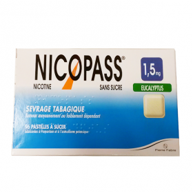 NICOPASS Sans sucre eucalyptus 96 pastillles 1,5mg