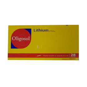 Lithium oligosol solution buvable en 28 ampoules ou en récipient unidose 2ml