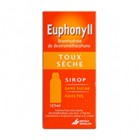 Euphonyll toux sèche 15mg/5ml adultes sans sucre sirop 125ml