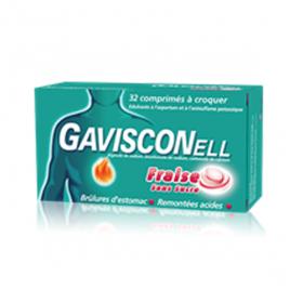 GAVISCON Gavisconell sans sucre fraise 32 comprimés à croquer