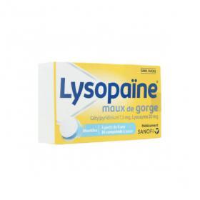BOEHRINGER INGELHEIM Lysopaïne maux de gorge cetylpyridinium lysozyne 36 pastilles sans sucre