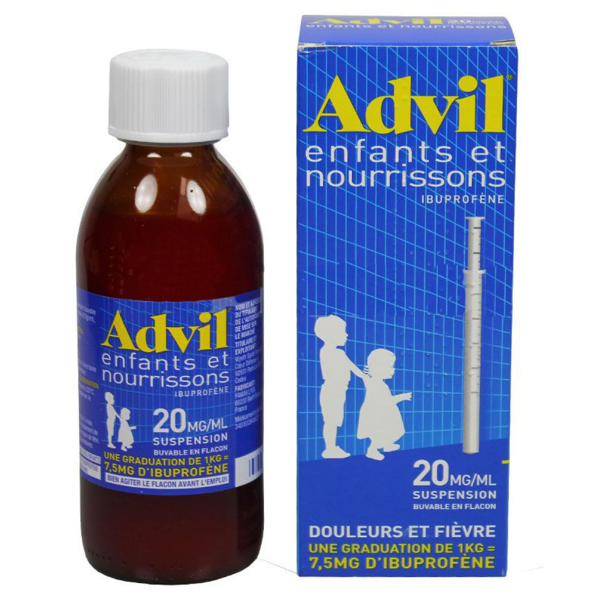 pfizer advil enfants et nourrissons 20mg 1ml suspension 200ml m dicaments pharmarket. Black Bedroom Furniture Sets. Home Design Ideas