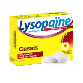 BOEHRINGER INGELHEIM Lysopaine maux de gorge ambroxol cassis 20mg 18 pastilles sans sucre