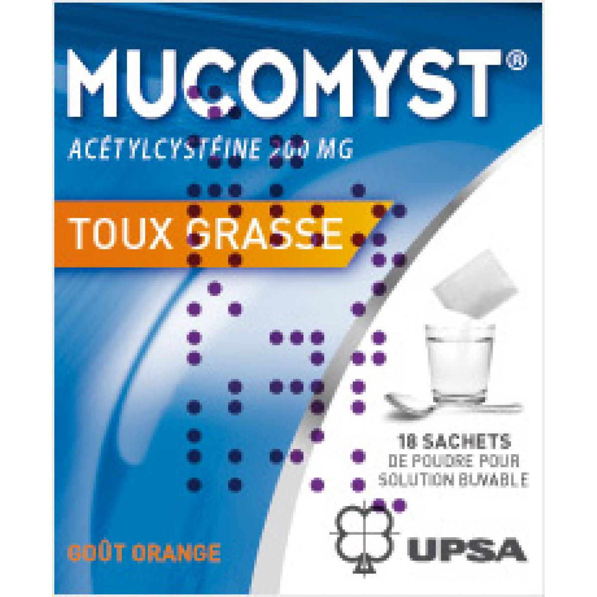 mucomyst 200mg poudre pour solution buvable 18 sachets dans toux grasse sur pharmarket. Black Bedroom Furniture Sets. Home Design Ideas