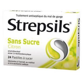 Strepsils citron sans sucre 24 pastilles