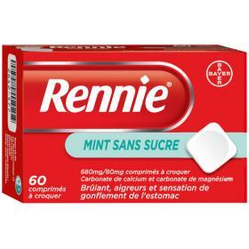 BAYER Rennie sans sucre 60 comprimés à croquer